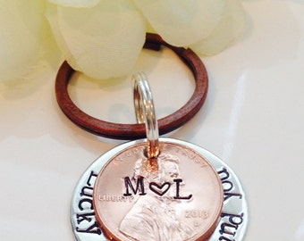 Lucky Us copper penny keychain-Lucky to have found you Keychain-Wedding keychain gift-Grooms gift-Bride gift
