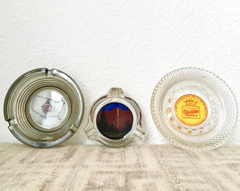 Vintage Souvenir Ashtrays, Choice of 3, Yosemite Fire Fall, Hyatt Lodges, Best Western