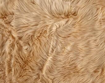 Camel Shaggy Luxury Faux Fur Fabric by the yard