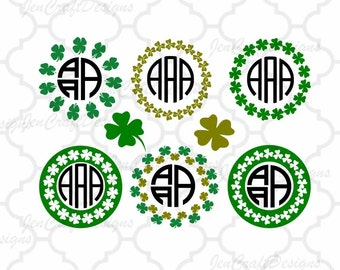 Shamrock SVG Monogram Frame SVG St Paddy's Day St. Patrick's Day Leprechaun svg Monogram SVG Cut Design,svg,dxf,png Silhouette & Cricut