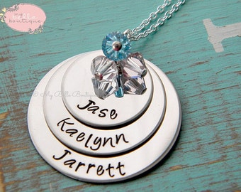 Tripled Stacked Discs Personalized Hand Stamped Necklace with Swarovski Birthstones / Birth Stones