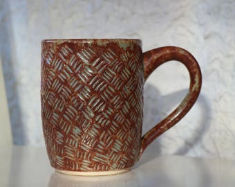 Cross-hatch carved mug