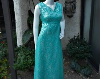 Vintage 1960's Teal Green & Silver Metallic Brocade Evening Dress - Size 12