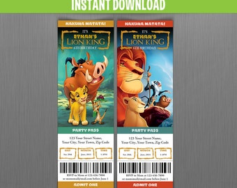 Disney The Lion King Birthday Ticket Invitations - Instant Download and Edit with Adobe Reader