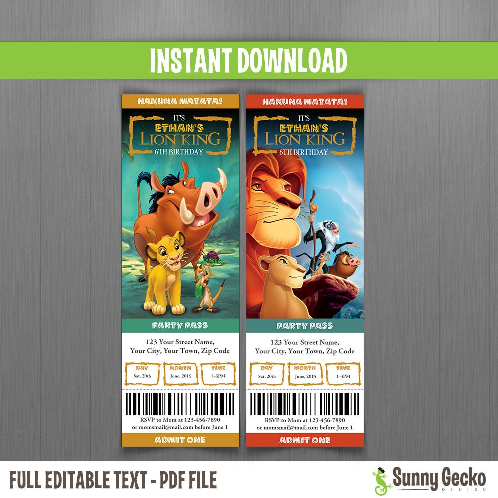 Disney the lion king birthday ticket invitations instant zoom filmwisefo Choice Image