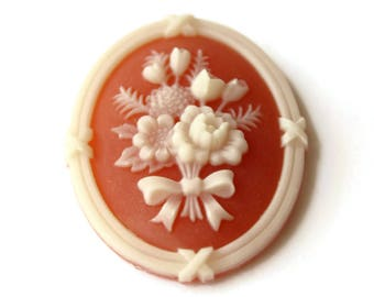 3 Flower Motif Vintage Cabochon Carnelian Cameo Cabochon 41mm x 31mm New Old Stock Floral Cameos Flower Cameos Jewelry Making Bouquet Cameo