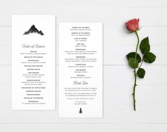 The Kendall Watercolour Mountain Wedding Ceremony Program