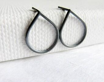 Oxidized  RainDrop silver stud, simple sterling silver post earrrings