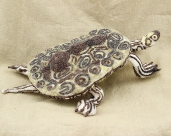 Needle felted animal, a turtle, Geographical terrapin (Graptemys geographica)