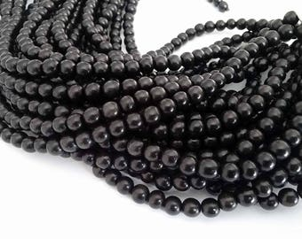 Exotic Black Camagong wood round beads - Wooden Beads 8mm - 50pcs