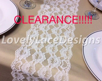 IVORY Lace Table Runner, 6.5ft long X 7in Wide, Wedding Table Runner, Vintage, Overlay, White/Ivory Wedding Decor