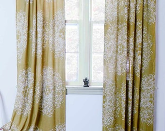 "SAMPLE SALE SINGLE- Yellow window curtains, Block printed natural dye home and living housewares Tree Forest  44""w x 96""L - sale"