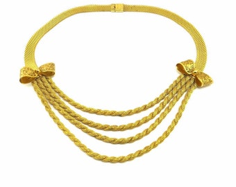 Gold Art Deco Bow Necklace, Gold Mesh Chain Bib Necklace, Multi-Strand Chain Vintage Statement Necklace, Art Deco Jewelry