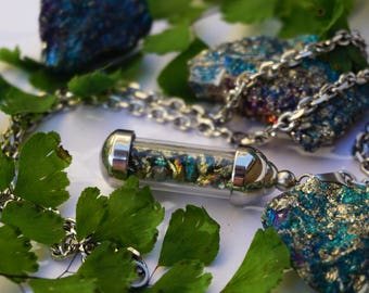 Peacock Ore Crystal Necklace - Stainless Steel Vial Necklace - Natural Crystal Healing Jewelry