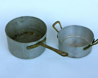 Italian aluminium saucepans with copper handles