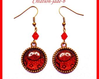 Earrings dangle cabochon red - fantasy Christmas
