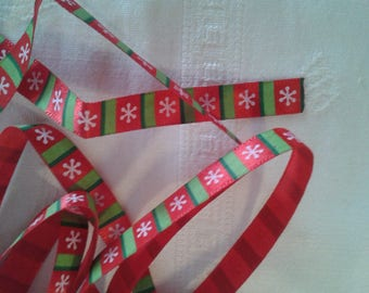 braid, green, red, fancy red and green pattern background grosgrain Ribbon Christmas snowflake, scrapbooking, embellishment