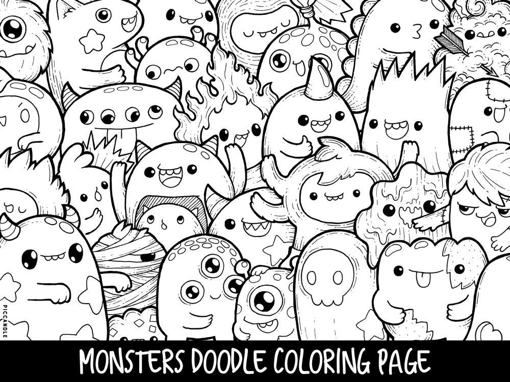 cute pictures coloring pages | Monsters Doodle Coloring Page Printable Cute/Kawaii Coloring