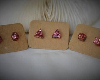 RESIN Earring, ROSE PINK Glitter Earring, Geometry Earring - Small Gem, Triangle, Cube on Stainless Steel Stud Earring ~ 5 mm