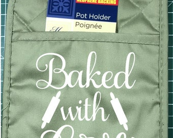 Made With Love | Baked With Love  - Pot Holder Customized - Green