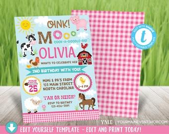 Farm Birthday Invitation, Girl Barnyard Farm Birthday Party, Girls Barnyard Birthday invite, DIY Instant Download, Pink Cow Pig Horse