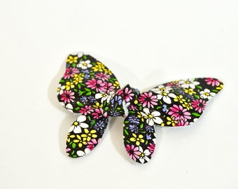 Floral Butterfly Bow // Leather Knotted Hair Bows  //  Butterfly Knotted Bow Hair Clip // Leafy Treetop Leather