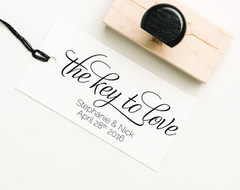 The Key to love Favor Stamp, Love Stamp, DIY Favor Stamp, Wedding Stamp, Personalized Love Stamp, Key Favor Stamp (SFAVS149 - S.1)