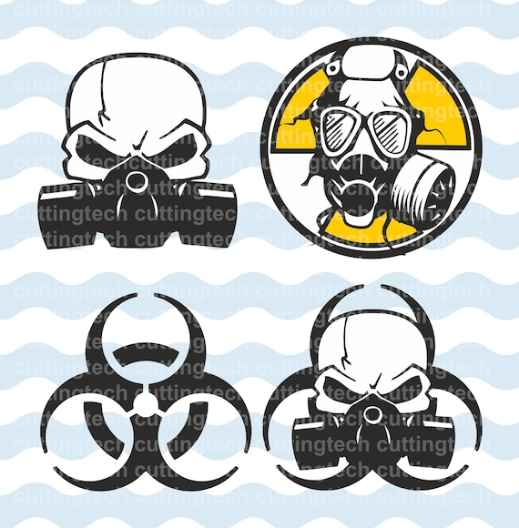 WARNING Biohazard, gas mask SVG, PNG Cut Files for use with ...