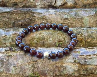 Mens bracelet men bracelet gift for men mens gift gemstone bracelet Sterling silver bead man bracelet boho chic gift for man guy bracelet