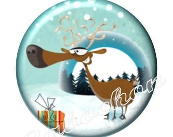 1 illustrated cabochon 30mm glass cabochon image Christmas, reindeer