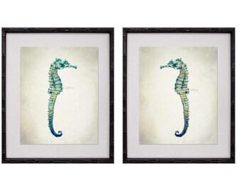 Seahorse Wall Art, Seahorse Print Set, Seahorse Prints, Seahorse Art, Beach  House