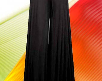 "Palazzo Pants   "" 28 "" Wide Leg High Waist Made To Measurement Matte Jersey Many Colors and Prints"