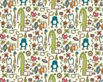 1 yard Alphabet Soup (Organic Knit Fabric) from the Picnic Whimsy collection for Birch Fabrics - end of bolt