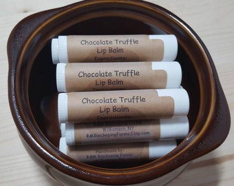 Chocolate Truffle Beeswax Lip Balm, single tube, Honey Lip Balm, Handmade Lip Balm, Natural Lip Balm, Chapstick, Christmas, gifts for her