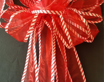 Christmas  Bow, Large With Streamers, Red And White, Tree Topper, Christmas Ribbon Tree Topper, Christmas  Decoration