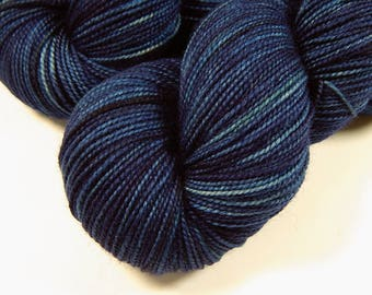 Hand Dyed Yarn, Sock Weight Superwash Merino Wool - Ink Tonal - Indie Dyed Navy Blue Fingering Weight Sock Yarn