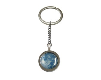 Bordered Blue Moon Pendant Keychain