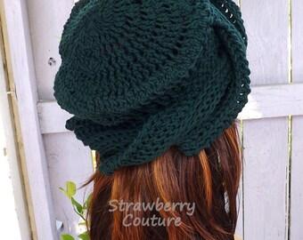Crochet Hat Womens Hat Trendy, Crochet Beanie Hat, 50th Birthday Gift for Women,  Forest Green Hat, Samantha Crochet Womens Turban Hat