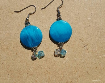 Blue dangle earrings with Swarovski crystals