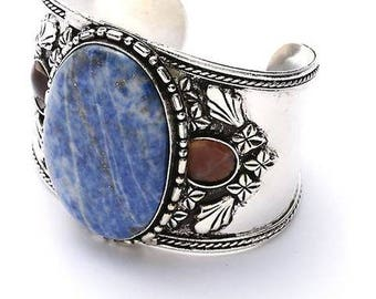 Tribal SILVER CUFF Bracelet ,Unique Jewelry with Blue natural Agate stone Kuchi Kucchi Jewelry natural Boho jewelry by TANEESI