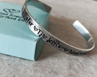 SALE Personalized bracelet with names mothers bracelet with children's names hand stamped custom jewelry mom grandma kids monogrammed