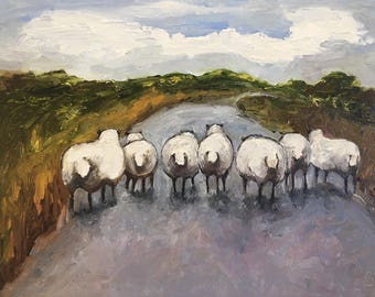 Sheep Homeward Bound - Contemporary Oil Painting - 8x10 inch