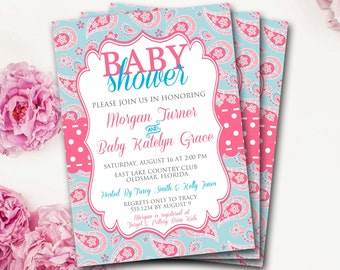 Pink And Blue Paisley Baby Shower Invitation, Paisley Shower Invitation, Pink And Blue Shower Invitation, Neutral Baby Shower, DIY Printable