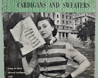 Vogue-Knit Book No 82 Cardigans and Sweaters 1940s Vintage Vogue Knitting Patterns 40s original patterns womens jumpers jackets etc