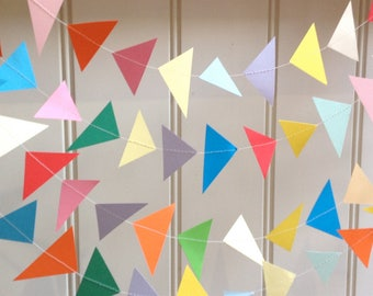 Geometric Paper Garland, Triangle Garland, Party Decor, Photo Prop, Paper Decoration, Birthday Decor, Baby Shower, Choose Length + Colour