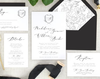 Calligraphy Wedding Invitations - Simple Wedding Invitation Set - Elegant Wedding Invites - Vintage Wedding - Modern Wedding - Set of 10
