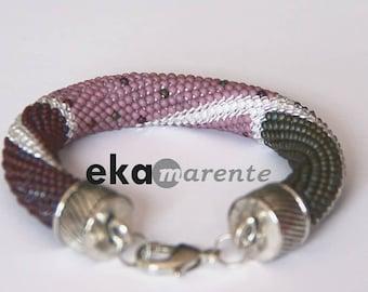 Crochet Bracelet pink stick, grey with matte finish matte bracelet crochet bracelet with beaded Seedbead bracelet