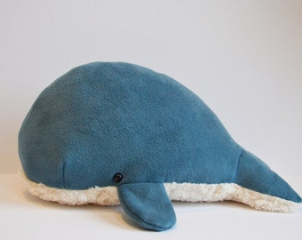 Sperm Whale Plush Deep Blue Furry Belly Large -personalization available