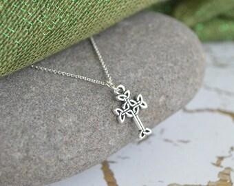 Sligo, Ireland Celtic Cross Silver Necklace