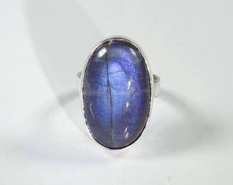 Labradorite Silver Ring Size 5.7 (5-)